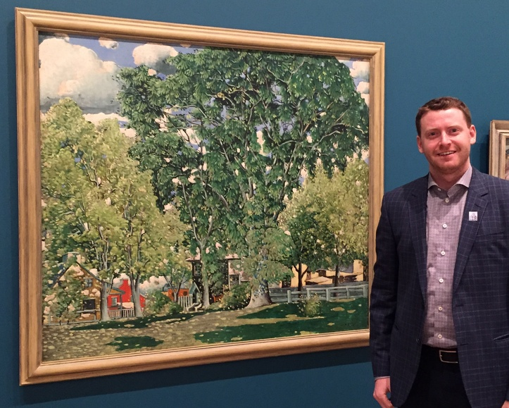 Craig Klinkhoff standing next to Marc-Aurèle Fortin's Landscape, Ahuntsic at the National Gallery of Canada, April 2018.