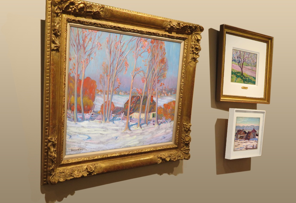 """First Snow, Baie St. Paul"" with J.E.H. Macdonald's ""Apple Blossom, York Mills"" and A.Y. Jackson's ""Port Joli, Que."""