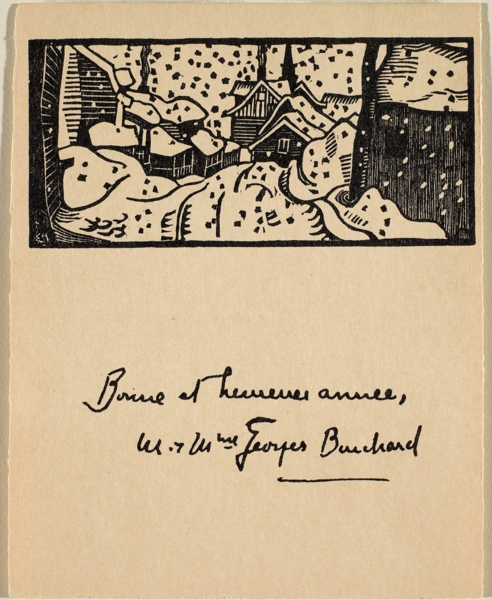 Edwin Holgate, The Village: Christmas Card for Georges Bouchard, NGC Access. No. 36721