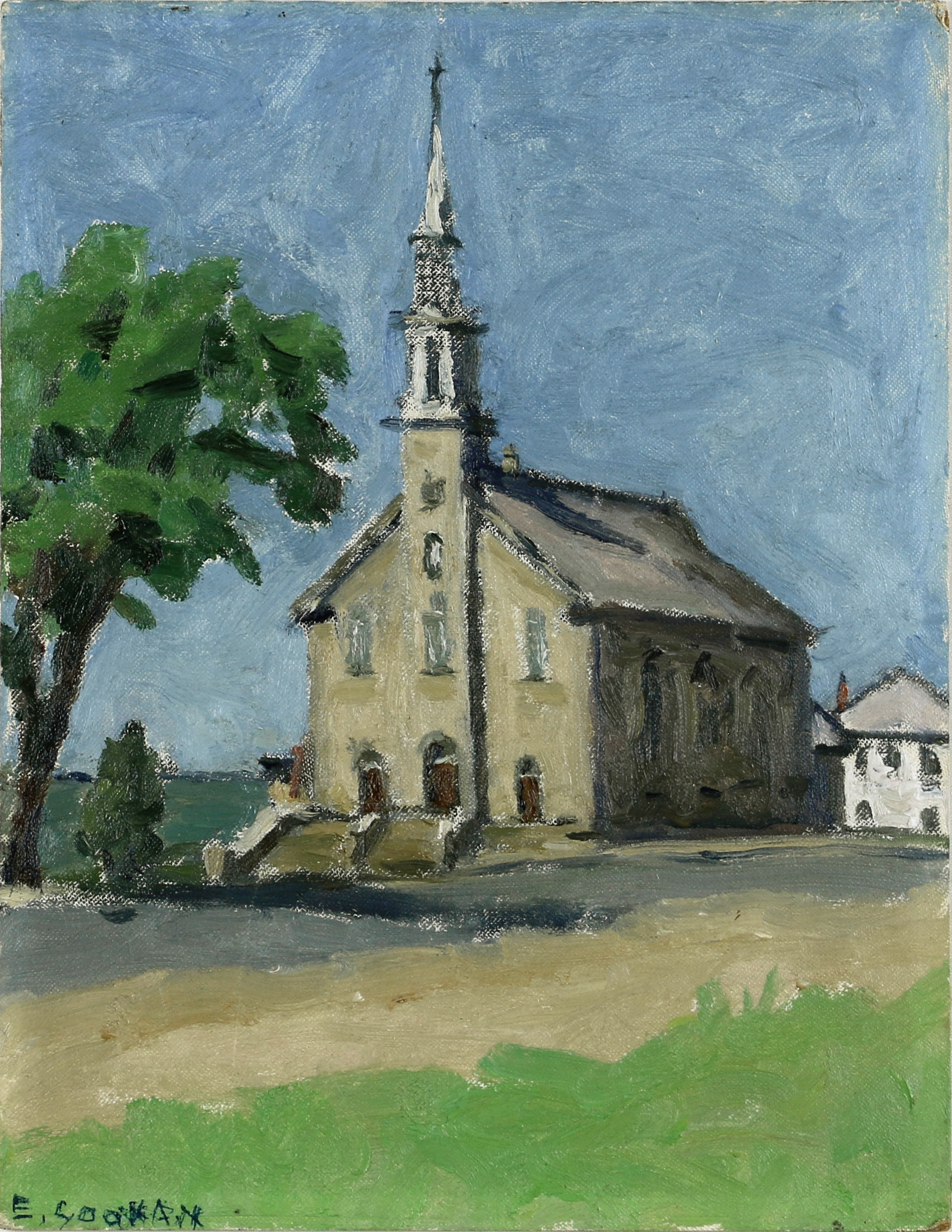 Emiy Coonan, Church at Notre-Dame-du-Portage (Near Cacouna) Oil on canvas board, 14 x 11 in (35.6 x 27.9 cm)