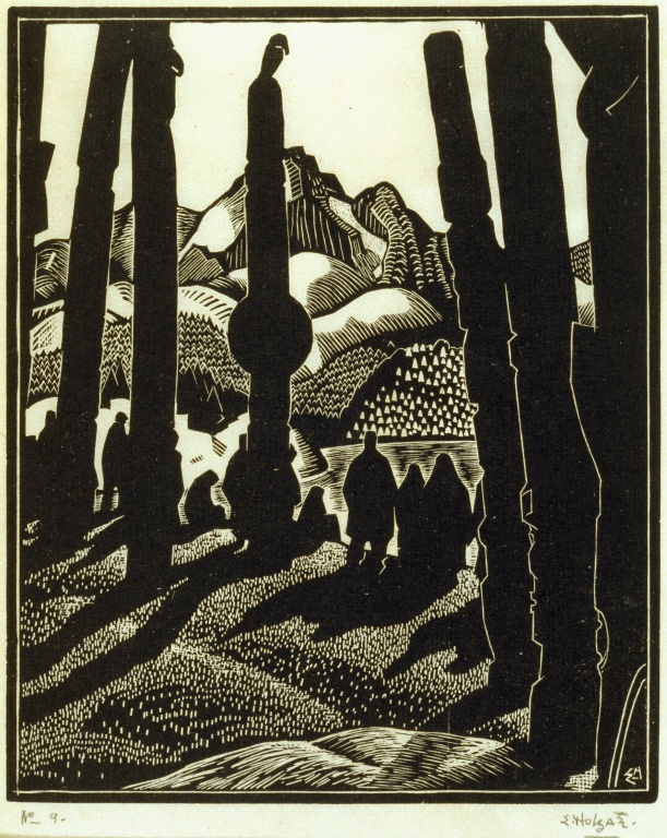 Edwin Holgate woodcut - Departing People, Skeena River