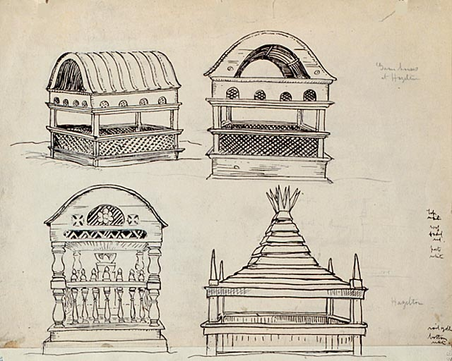 AY Jackson drawings - Four Graves at Hazelton