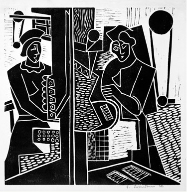 Fritz Brandtner, Machine Shop, 1938, linocut on paper, Glenbow Museum Collection, Access. No. 995.018.090