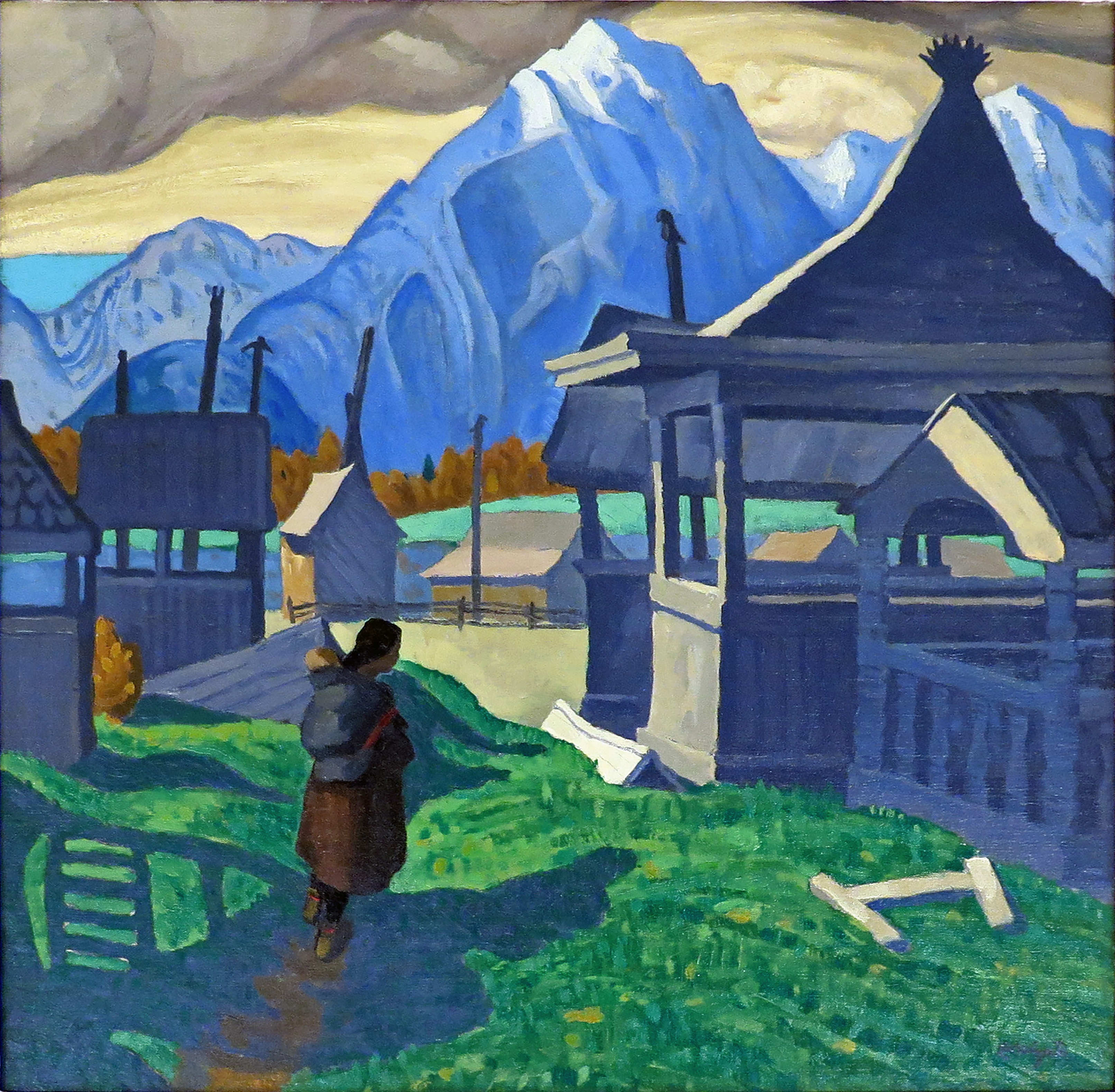 Edwin Holgate painting - Indian Grave Houses