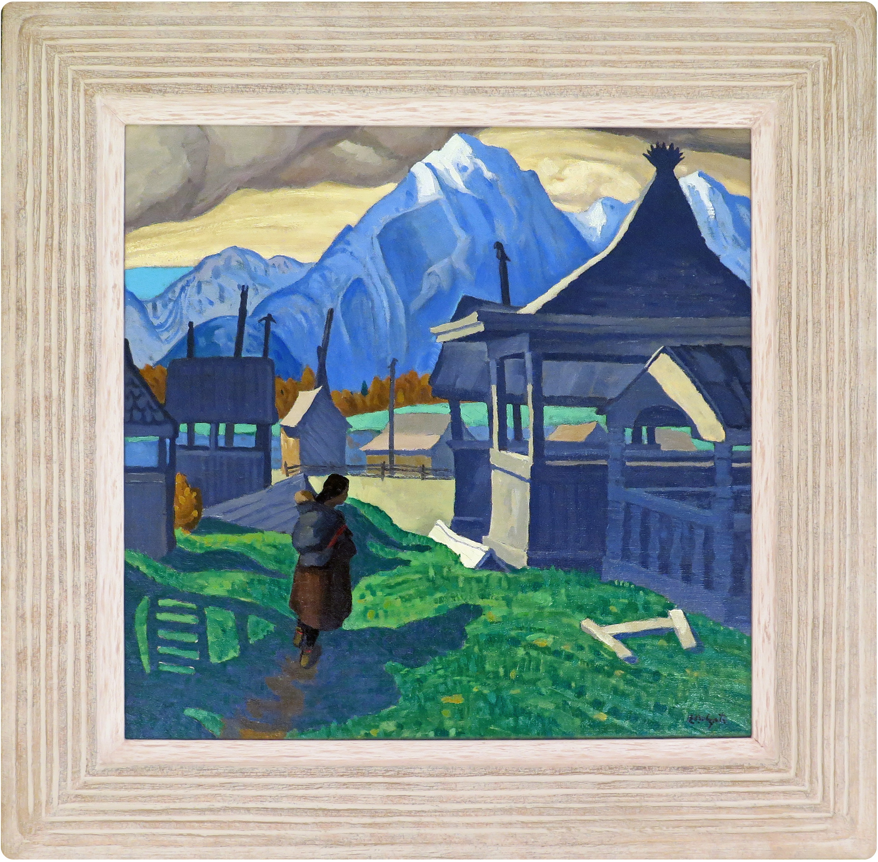 Edwin Holgate painting - Indian Grave Houses in original frame