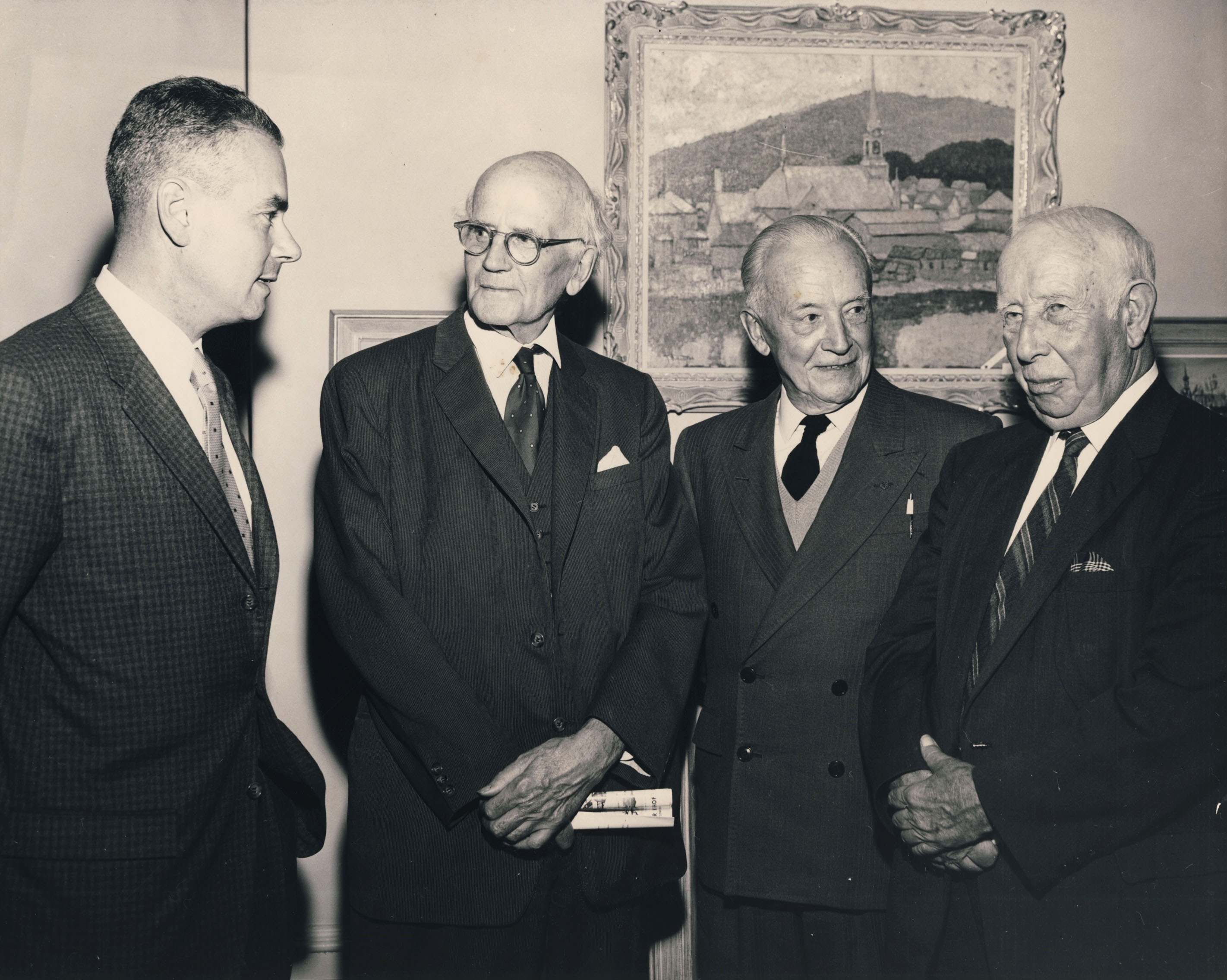From left, Walter Klinkhoff, Arthur Lismer, Edwin Holgate and A.Y. Jackson at the Randolph Hewton retrospective exhibition at Galerie Walter Klinkhoff in October 1962