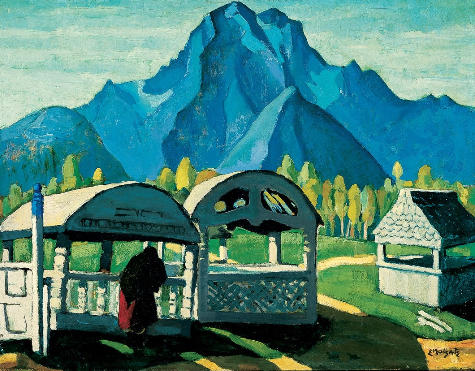 Edwin Holgate painting - Indian Grave Houses, Skeena River,
