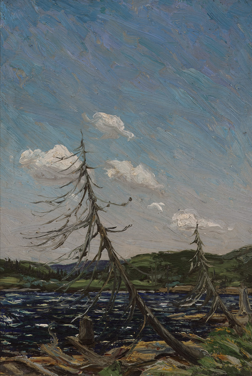 Tom Thomson, Northern Lake, 1912 Oil on canvas board 12 x 7 ins. Tom Thomson Catalogue Raisonne (Joan Murray) no. 1912.15