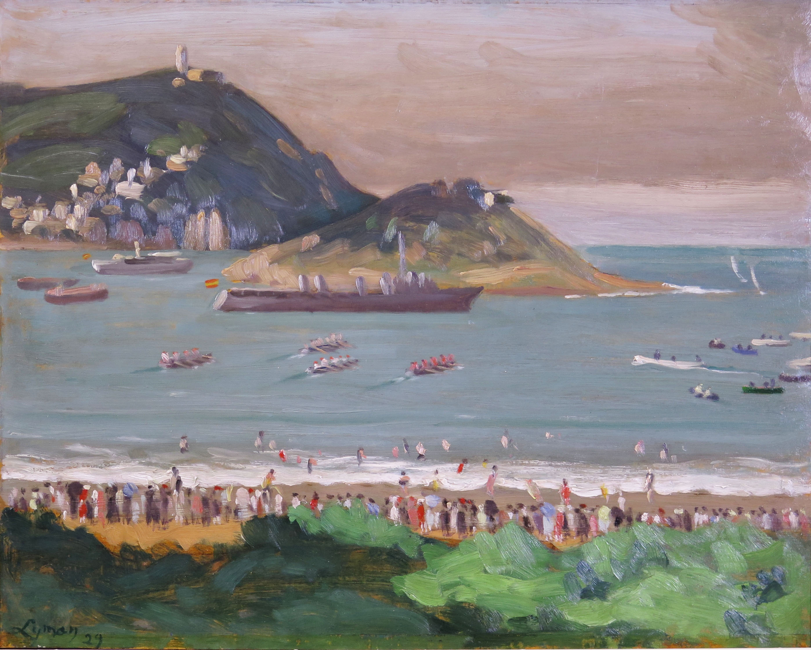 John Lyman, 'Regatta at San Sebastian', 1929, oil on panel 12 3/4 x 16 ins. (Sold)
